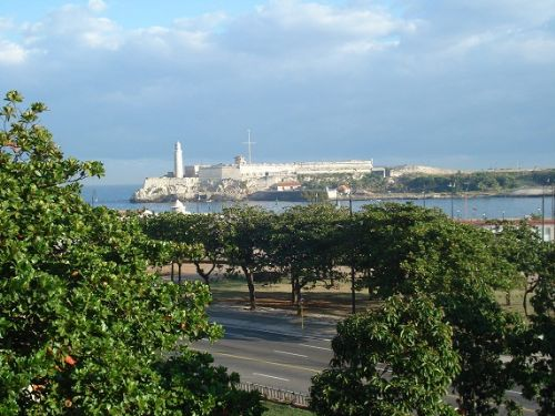 'View from the terrace (Morro Castle and Harbour)r)' Casas particulares are an alternative to hotels in Cuba.