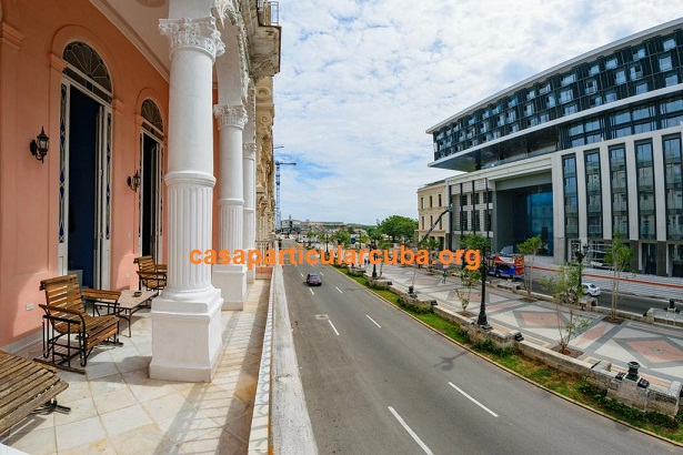 'Terrace and view of Prado avenue' Casas particulares are an alternative to hotels in Cuba.