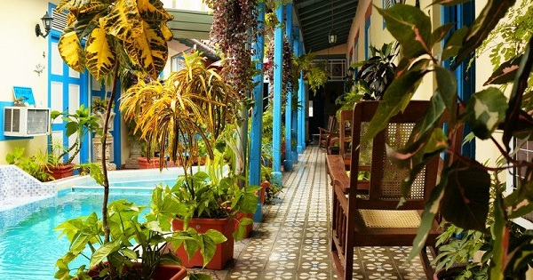 'Inner patio and pool' Casas particulares are an alternative to hotels in Cuba.