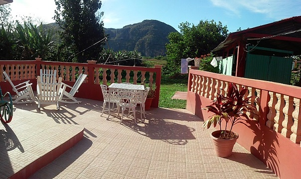'Back terrace and view to the mountain'